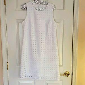 Calvin Klein White Shift Dress Eyelet Size 10